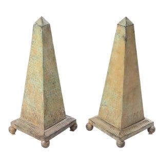 Decorative Metal Obelisks - A Pair
