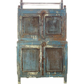 Vintage Turquoise Two-Piece Cabinet