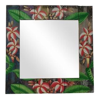 Floral Wooden Mirror