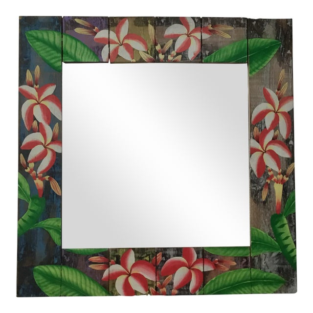 Floral Wooden Mirror - Image 1 of 4