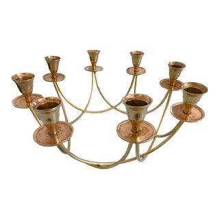 Circular Brass Eight Light Candelabra