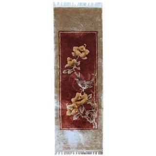 1970s Handmade Vintage Art Deco Chinese Silk Rug 1' x 3'