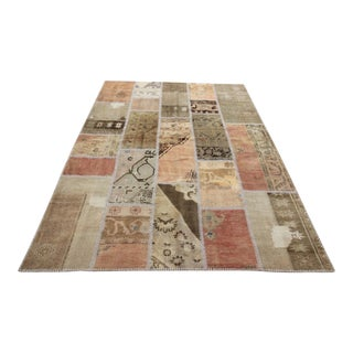 Vintage Turkish Overdyed Patchwork Oushak Rug - 5′7″ × 8′