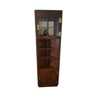 Henredon Scene 1 Campaign Style Corner Curio Bookcase