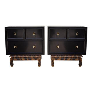 Faux Tortoise & Black Lacquer Nightstands - A Pair