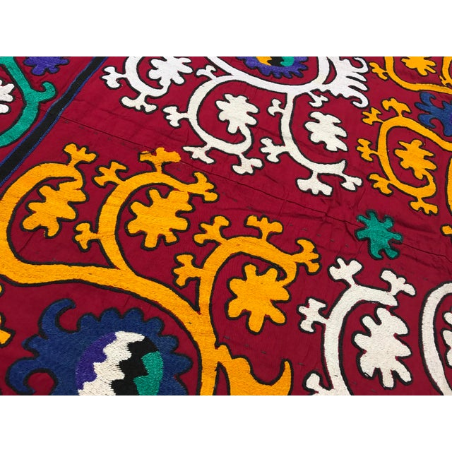Vintage Square Suzani Fabric - Handmade Table Cover - 4.0' x 4.2' - Image 3 of 6