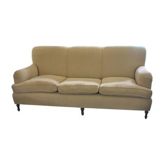 English Roll Arm Camel Colored Sofa
