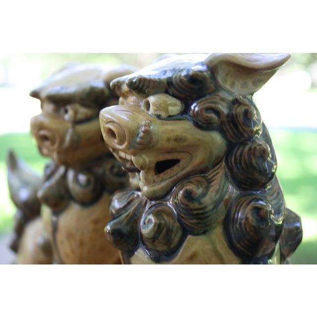 Image of Vintage Terracotta Glazed Foo Dogs - Pair
