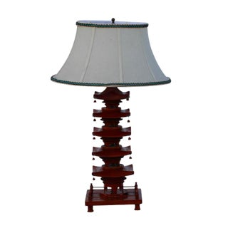 Vintage Pagoda Table Lamp & Shade