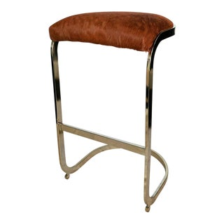 Vintage Brass Cowhide Upholstered Bar Stool