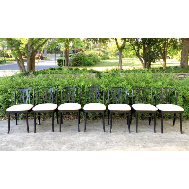 Vintage Cafe Dining Chairs - Set of 7 - Image 2 of 9