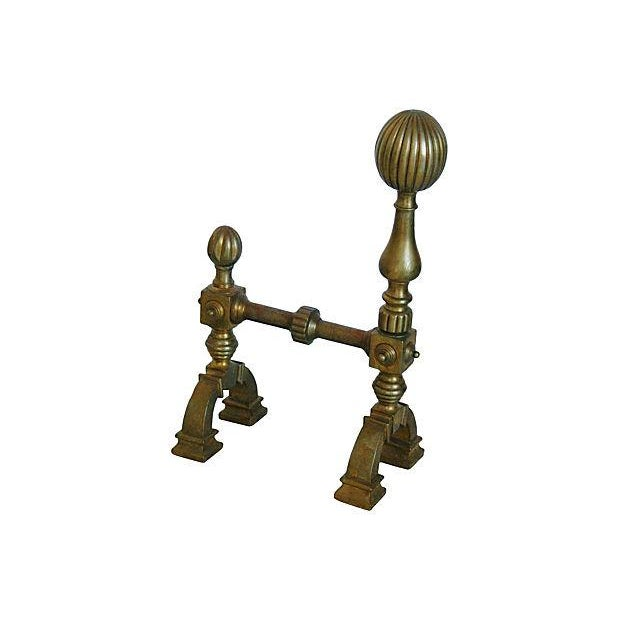 Antique English Brass Andirons - A Pair - Image 5 of 7