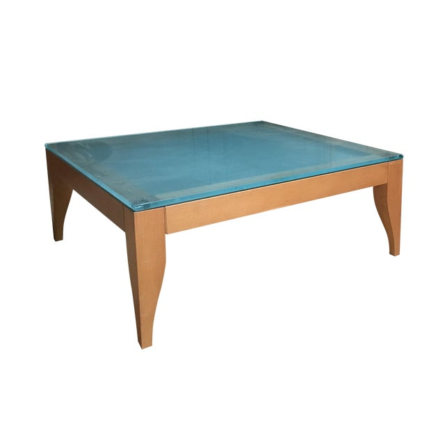 Styish Sandblasted Glass Top Coffee Table