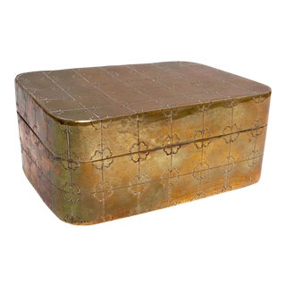 Etched Clover Design Brass Box