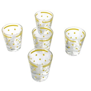 Yellow Polka Dot Shot Glasses - Set of 5
