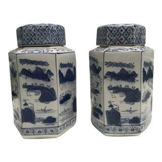 Blue & White Canton Jars - A Pair