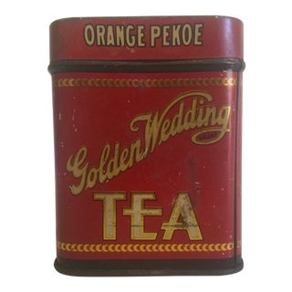 Early 1900's Golden Wedding Orange Pekoe Tea Tin Box