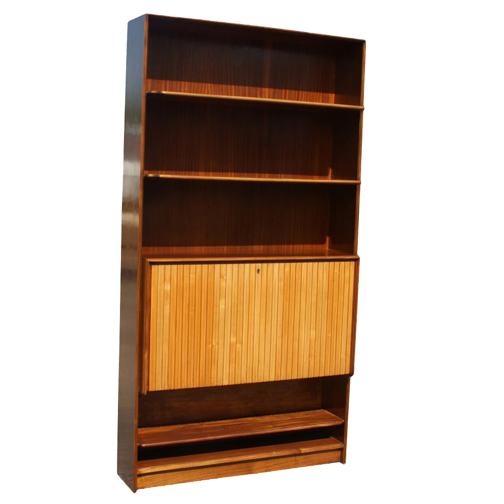 midcentury bookcase with hideaway mini bar