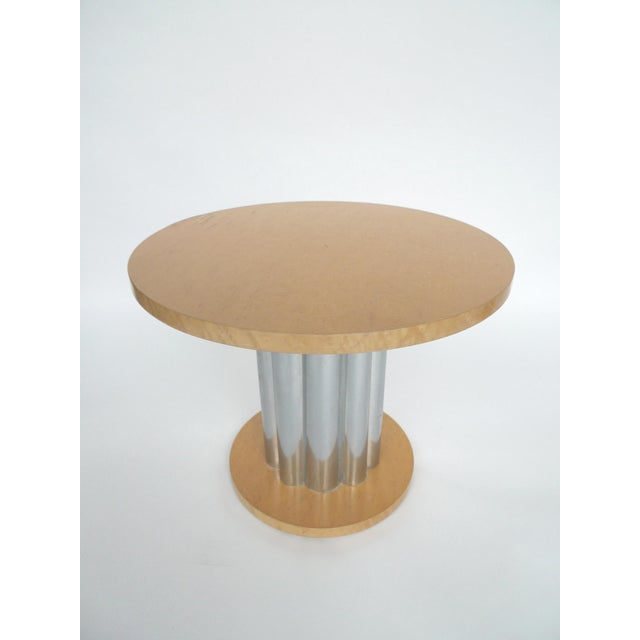 Deco Style Round Chrome & Sycamore Side Tables - A Pair - Image 3 of 10