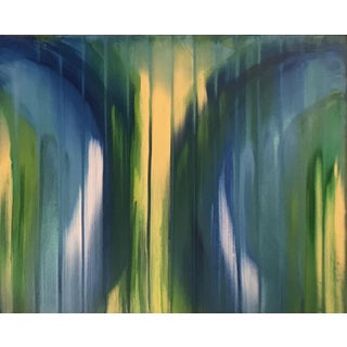 Yellow and Green Depth Acrylic Painting