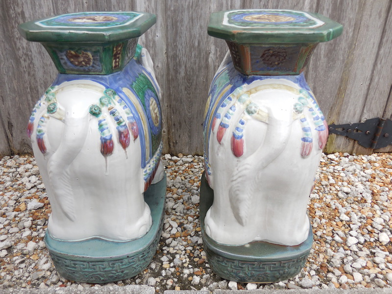 Vintage Elephant Garden Stool Pair Chairish