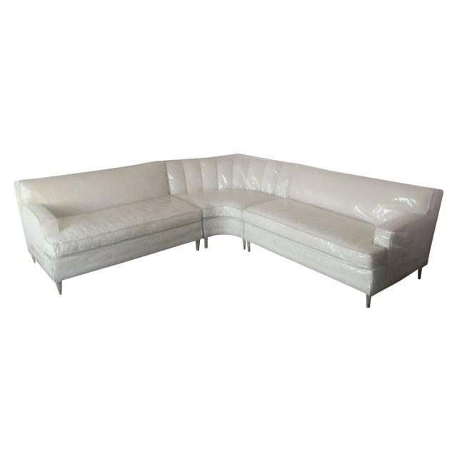 Mid-Century Modern Cream Floral Sectional - Image 1 of 6