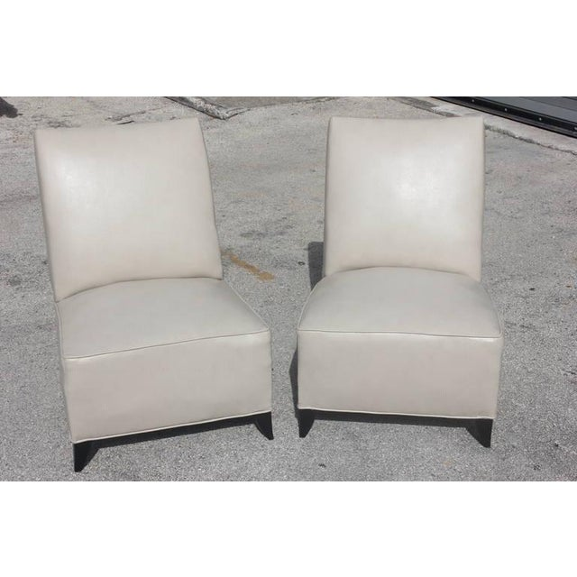 French Art Deco Armless Club Chairs - Pair - Image 2 of 8