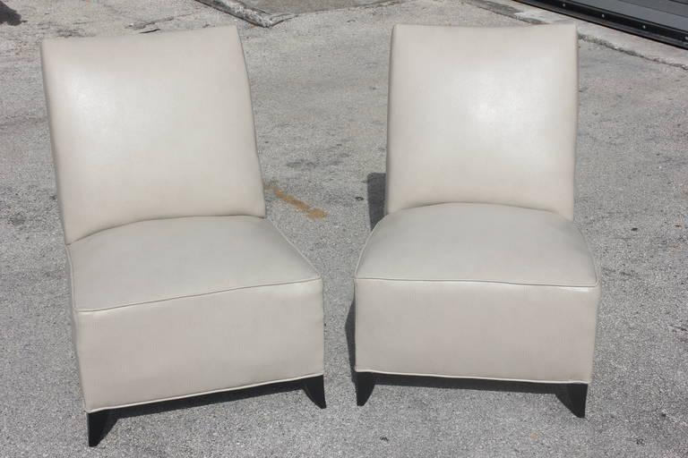 French Art Deco Armless Club Chairs   Pair   Image 2 Of 8