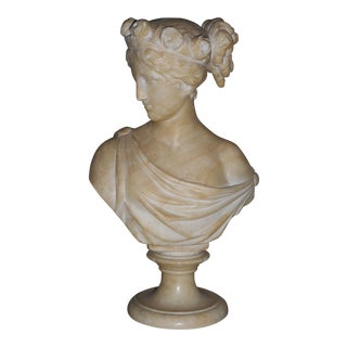Original Antique Marble Sculpture-Female Bust