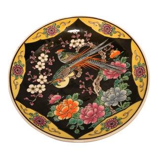 Floral & Pheasant Motif Japanese Plate