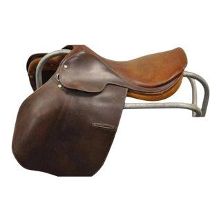Vintage Gidden Brown Leather Equestrian Horse Back Riding Saddle