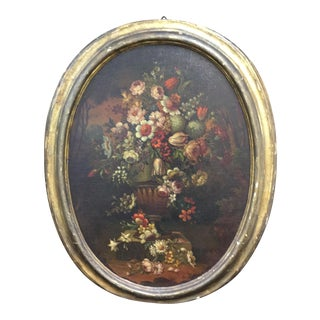 Antique European Oval Floral Oil Painting