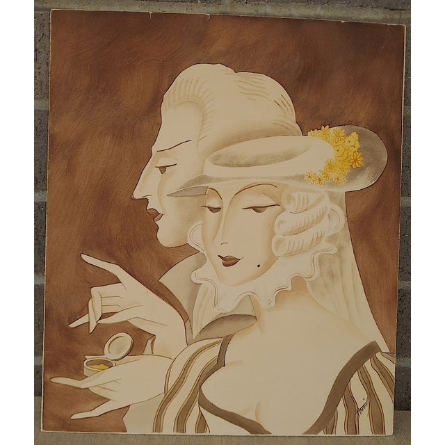 Image of Vintage Mid 20th C. Signed Sepia Gouache Painting