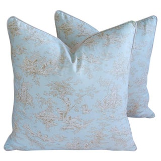 "Large 24"" Square French Pale Blue Toile Feather/Down Pillows - Pair"