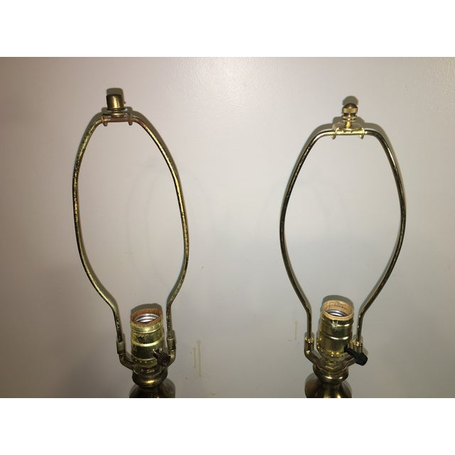 Image of Mid-Century Brass & Glass Table Lamps - A Pair