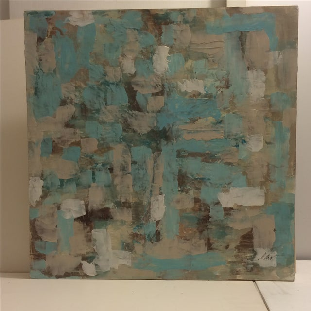 Raw Turquoise Acrylic & Plaster Abstract Painting - Image 2 of 9