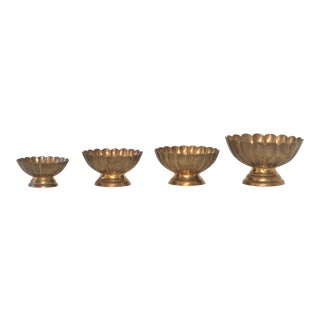 Hollywood Regency Brass Scallop Footed Bowls - Set of 4
