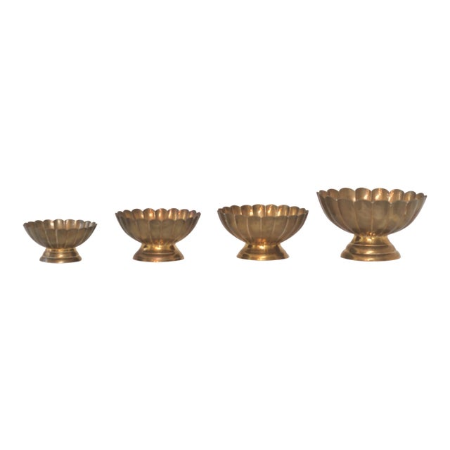 Hollywood Regency Brass Scallop Footed Bowls - Set of 4 - Image 1 of 4