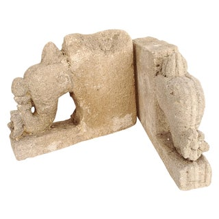 Stone Elephant Bookends - Pair