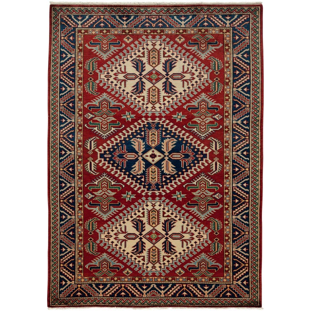 """Image of New Traditional Hand Knotted Area Rug - 4'4"""" x 6'"""
