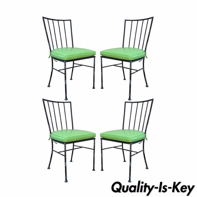 Vintage Mid Century Modern Hollywood Regency Metal Faux Bamboo Dining Chairs - Set of 4 - Image 11 of 11
