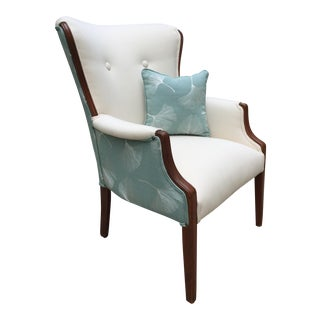 Vintage White & Blue Arm Chair