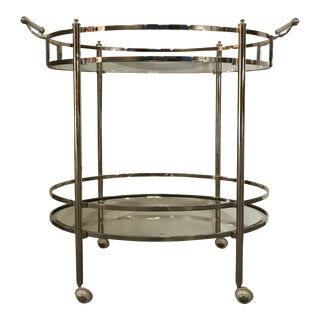 Polished Nickel Two Tier Bar Cart