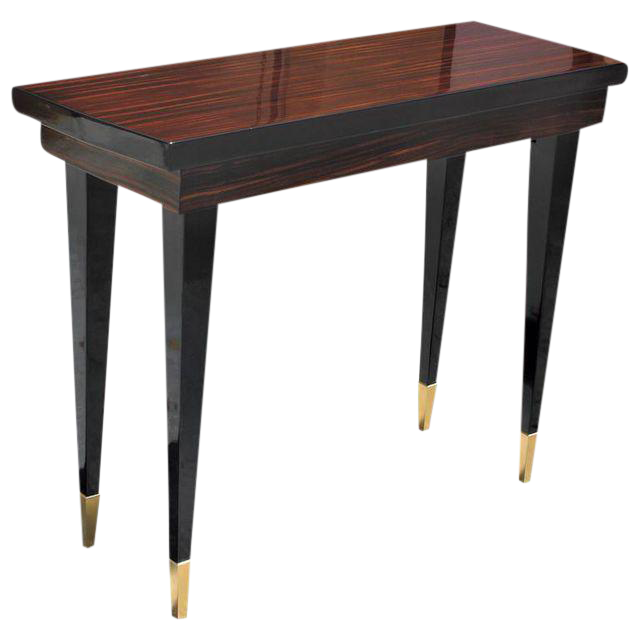 French Art Deco Exotic Macassar Ebony Console Table, Circa 1940s   Image 1  Of 10