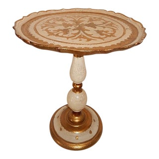 Italian Gold Gilt Wood Florentine Round Pedestal Side Table
