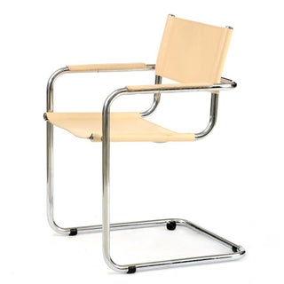 Cream Italian Leather & Chrome Chair