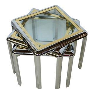 Modernist Chrome Brass & Glass Nesting Tables - Set of 3