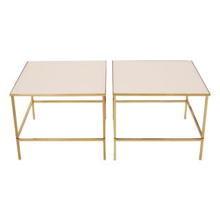 Brass & Vitrolite Side Tables after Harvey Probber - a Pair