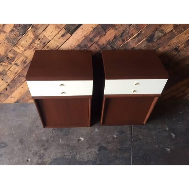 Mid-Century Walnut Nightstands - A Pair - Image 4 of 6