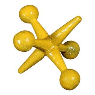 Oversized Yellow Enamel Cast Iron Jack